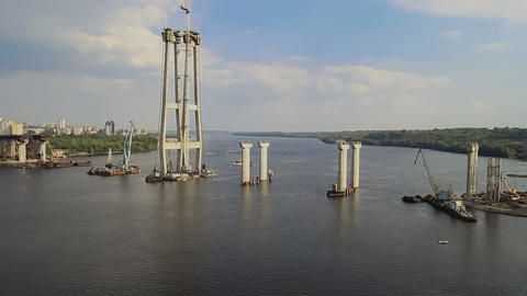 Bridge Construction in Zaporizhzhya Timelapse Stock Video Footage