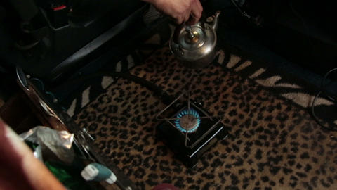 The kettle on the gas burner Footage