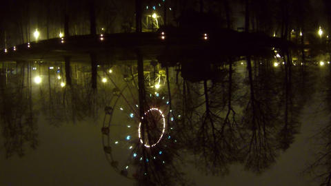 Ferris wheel at night reflected in the water Stock Video Footage