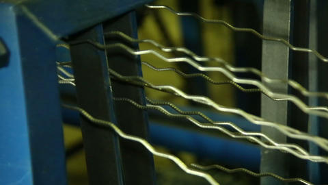 Wire for production of prison bars and fences crim Stock Video Footage