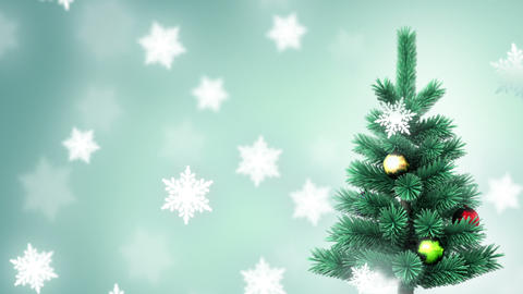 Christmas tree and falling snowflakes Stock Video Footage