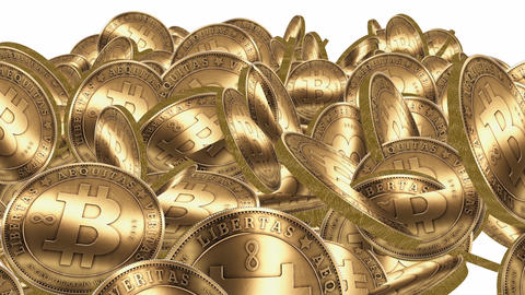 Many Gold Bitcoin Coins Flying In Air,Virtual Curr stock footage