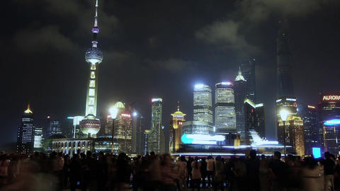 Shanghai Oriental Pearl at night,busy tourist,crowd,Lujiazui economic building Animation