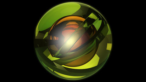 green orbits ball with alpha Stock Video Footage