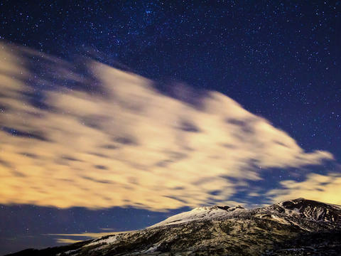 Milky Way above the volcano Etna. Time Lapse. 4x3 Stock Video Footage