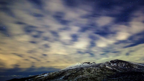 Milky Way above the volcano Etna. Time Lapse. 4K Stock Video Footage