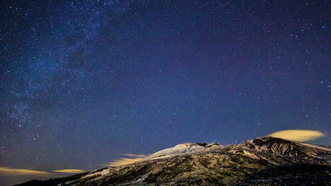 Milky Way above the volcano Etna. Time Lapse. 4K Footage