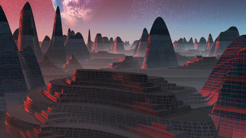 Alien City at sunset Stock Video Footage