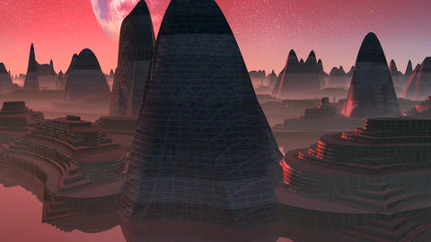 Alien City at sunset Animation