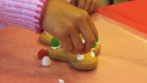 Gum Drops On Christmas Gingerbread Man Cookie Stock Video Footage