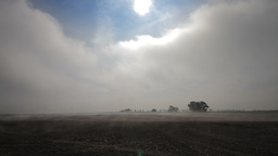 Fog crawling over cultivated meadow, wide shot Stock Video Footage