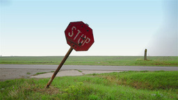 Old stop road sign in rural area Stock Video Footage