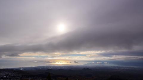 Solar path. Coast of Sicily. Italy. Time Lapse. 4K Footage