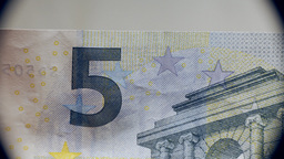 Money five euros bill banknote macro Stock Video Footage