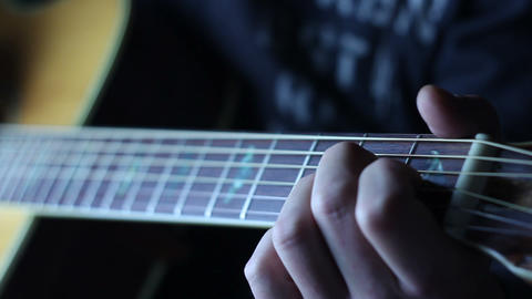 Acoustic guitar strumming left hand Stock Video Footage