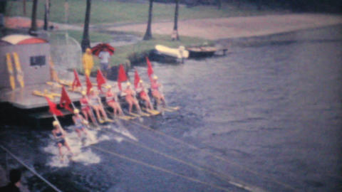 Female Waterskiers Performing In Florida 1961 stock footage
