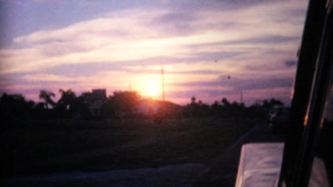 Florida Sunset From Moving Car 1961 Vintage 8mm Footage
