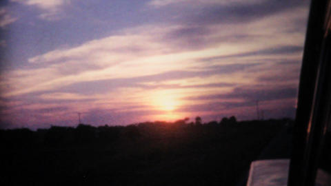 Florida Sunset From Moving Car 1961 Vintage 8mm Stock Video Footage