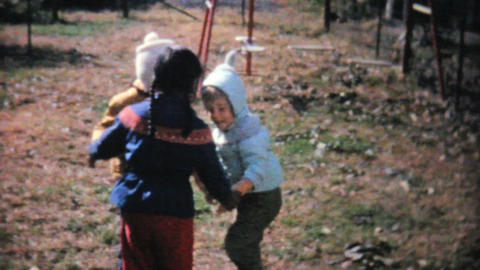 Kids Playing Games And Running In The Fall 1961 Stock Video Footage