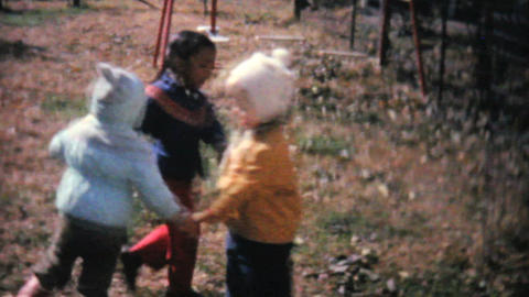 Kids Playing Games And Running In The Fall 1961 Footage