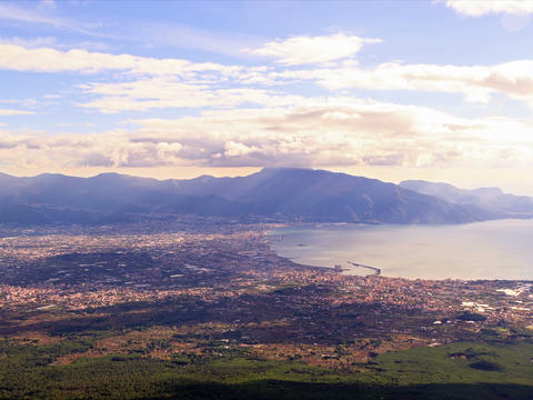 Pompei Valley, view from Mount Vesuvius. Italy. 4x Stock Video Footage