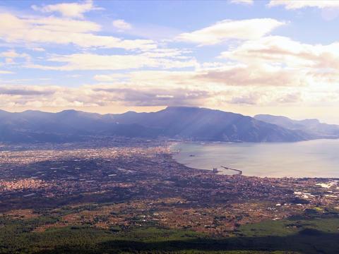 Pompei Valley, view from Mount Vesuvius. Italy. 4x Footage