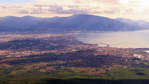 Pompei Valley, view from Mount Vesuvius. Italy Stock Video Footage