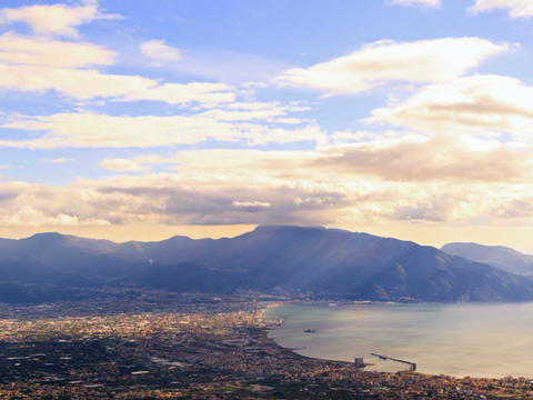 Pompei Valley, view from Mount Vesuvius. Italy Footage