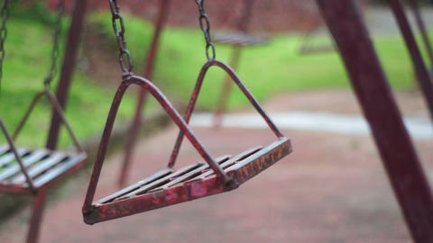 Antique Deserted Swings Dolly Stock Video Footage