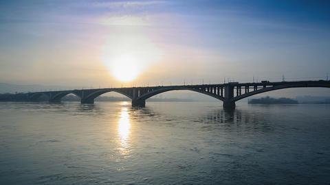 Bridge Over River Stock Video Footage