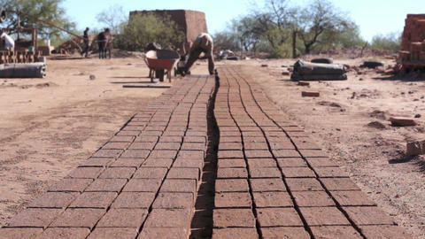Adobe Brick Making Far Dolly Stock Video Footage