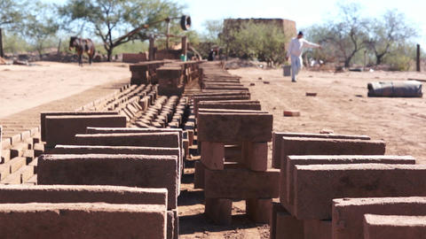 Adobe Brick Making Stacked Stock Video Footage
