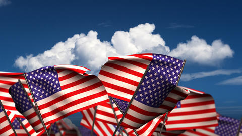 Waving American Flags Stock Video Footage