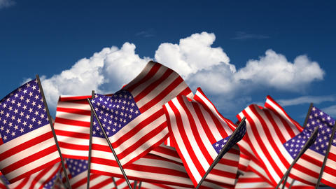 Waving American Flags Animation