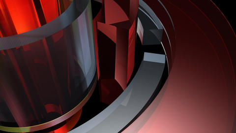 glossy cylinder spinning with alpha Stock Video Footage