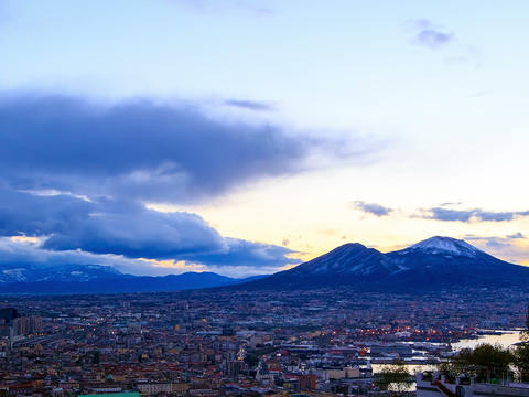Mount Vesuvius. Dawn over Naples. Time Lapse. 4x3 Stock Video Footage