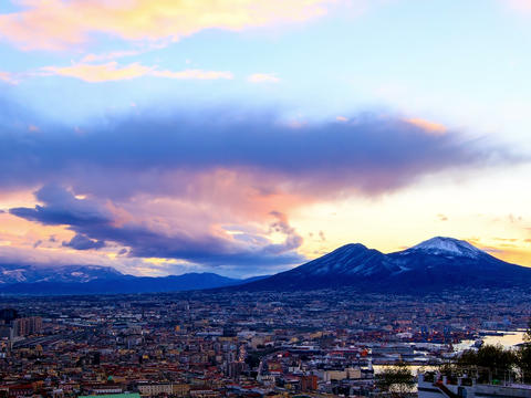 Mount Vesuvius. Dawn over Naples. Time Lapse. 4x3 Footage