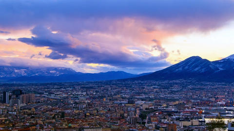 Mount Vesuvius. Dawn over Naples. Time Lapse Footage