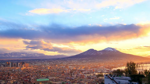 Mount Vesuvius. Dawn over Naples. Time Lapse. 4K Footage