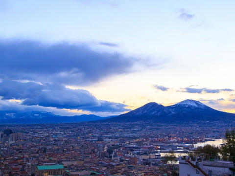 Mount Vesuvius. Dawn over Naples. Time Lapse Stock Video Footage