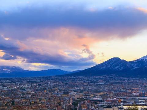 Mount Vesuvius. Dawn over Naples. Time Lapse Footage