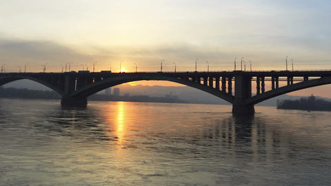 Bridge Over River, Sunset Stock Video Footage