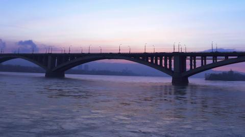 Bridge Over River, Sunset Stock Video Footage