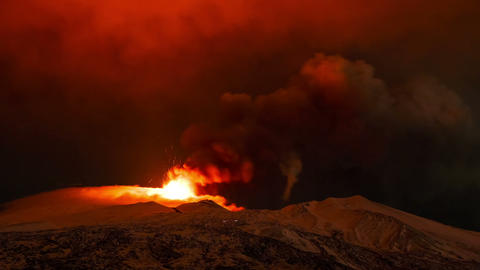 Etna Eruption at night. Sicily, Italy. Time Laps Footage