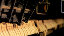 Piano inner mechanism close up angled Stock Video Footage