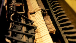 Piano inner mechanism medium shot Stock Video Footage