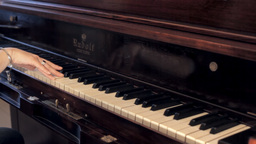 Piano vintage female hand playing editorial Stock Video Footage