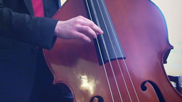 Playing double bass 1 Stock Video Footage
