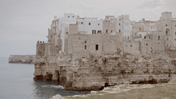 Polignano medieval city on a cliff by the sea 1 Stock Video Footage