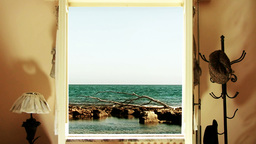 Sea out of the window Stock Video Footage